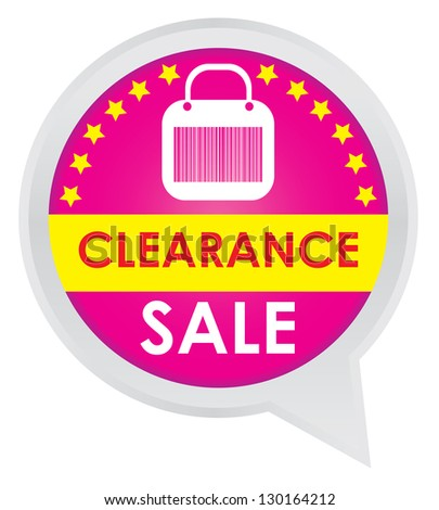 Season Sale Sticker or Label Present By Clearance Sale on Pink Icon Isolated on White Background