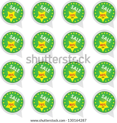 Season Sale Sticker or Label Present By Green Sale 5 - 90 Percent OFF Discount Label Tag Isolated on White Background