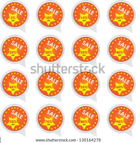 Season Sale Sticker or Label Present By Orange Sale 5 - 90 Percent OFF Discount Label Tag Isolated on White Background