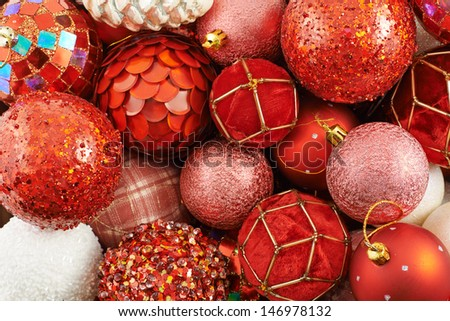Seasonal Christmas decoration background as a pile of xmas tree decorations