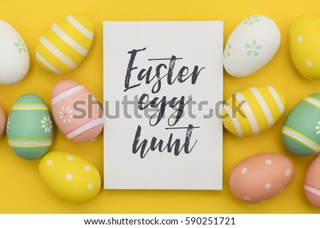 Seasonal Easter message with decorated Easter eggs  #590251721