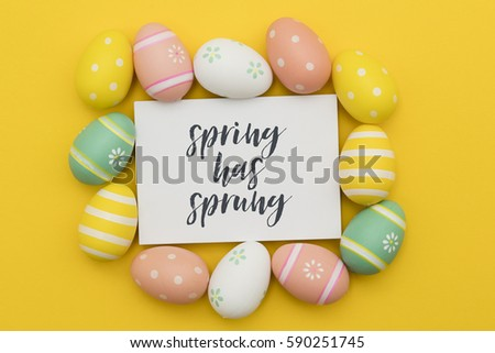 Seasonal Easter message with decorated Easter eggs