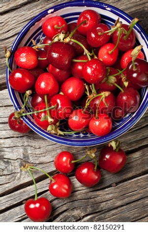 seasonal fresh cherry fruit on basket