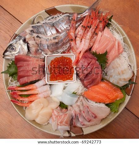Seasonal fresh Japanese sashimi plate on the table