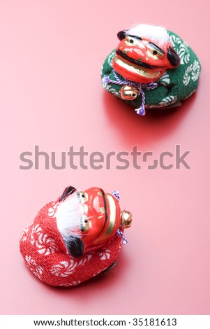 SEASONAL IMAGE-two Japanese lion dolls for celebration of New Year's Day