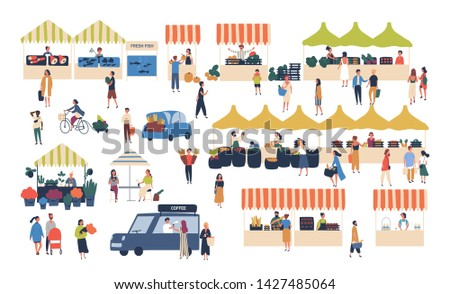 Seasonal outdoor street market. People walking between counters, buying vegetables, fruits, meat and other farmer products. Buyers and sellers on marketplace. Cartoon colorful illustration