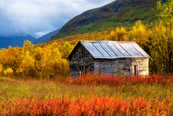 Seasonal summer hut ona clearing in Tamok Valley, Norway on cloudy autumnal day