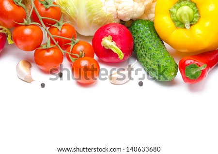 seasonal vegetables on a white background (with space for text), isolated