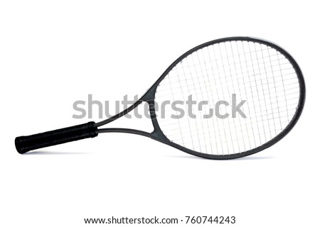 Seasoned black graphite tennis racket isolated on white background.