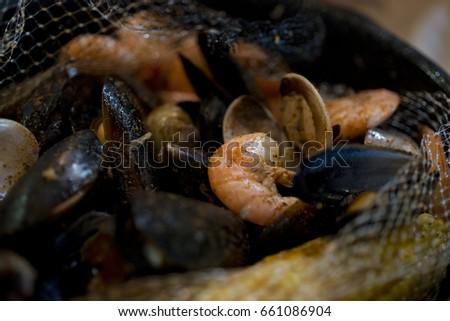 seasoned boiled seafood  #661086904