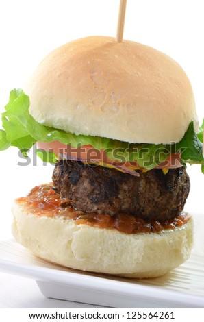 Seasoned grilled hamburger slider on white background