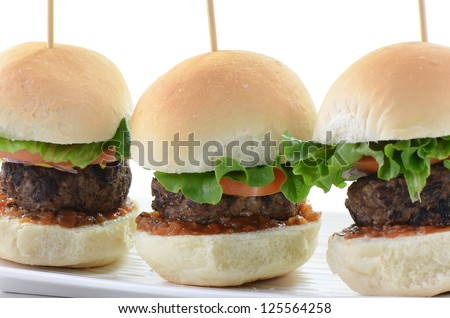 Seasoned grilled hamburger sliders on white background