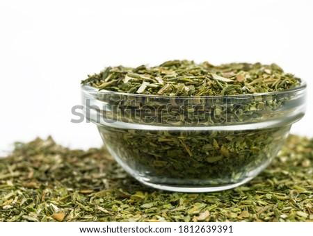 Seasoning, dried savory. On a white background Photo stock ©