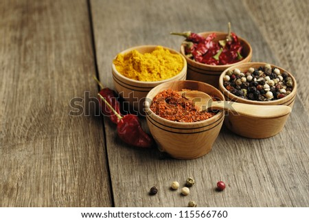 Seasonings and some jalapenos on the wooden table