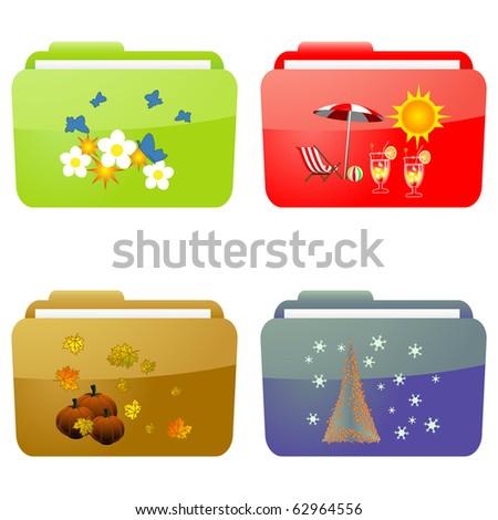 Seasons folders - stock photo