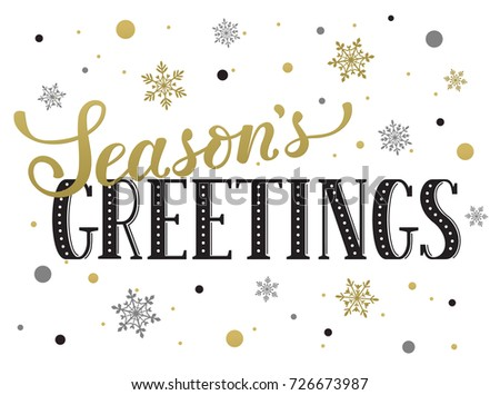 seasons greetings postcard template modern new year lettering with snowflakes isolated on white background