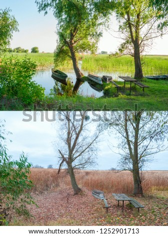 Seasons 2 seasons. Pier wooden boats on the reservoir with seasonal fluctuations in water level #1252901713