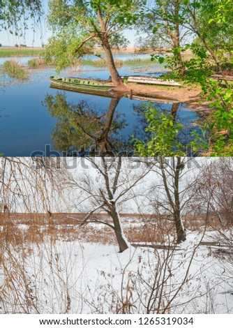 Seasons 2 seasons winter and spring. Pier wooden boats on the reservoir with seasonal fluctuations in water level