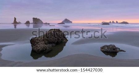 Seastacks at twilight along Bandon Beach in Bandon, Oregon