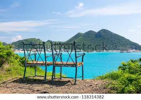 Seat at overlook viewpoint over Philipsburg in Sint Maarten St Martin Caribbean