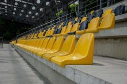 Seat on the football field, empty stadium.