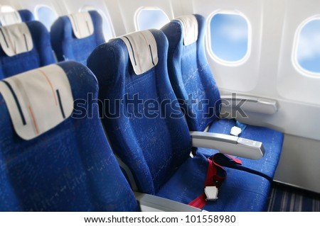 seat rows in an airplane cabin