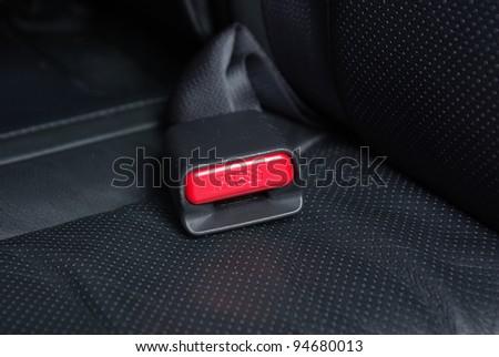 Seatbelt buckle on a car seat