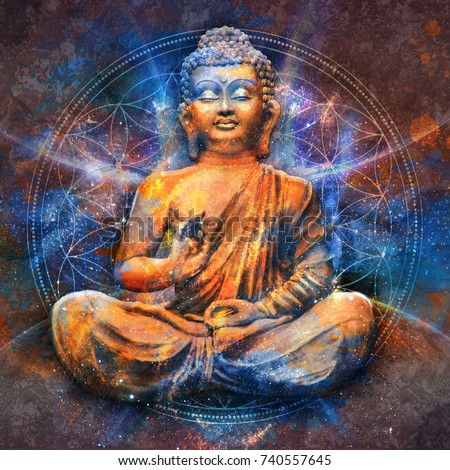 Seated Buddha in a Lotus Pose - digital art collage combined with cosmic background and with mandala