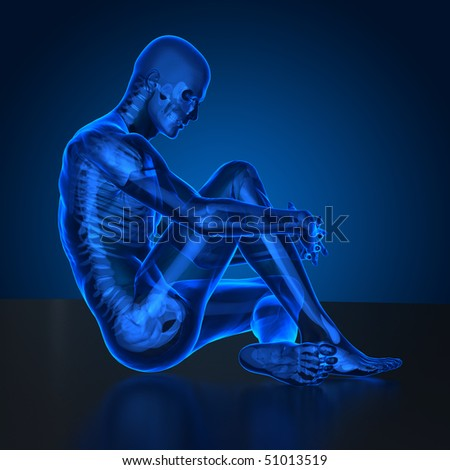 seated man with visible skeleton in x-ray