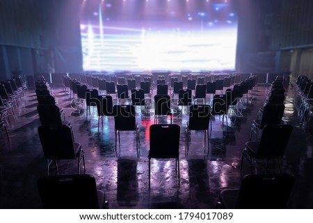 Seating arrangement for concerts ,Keep spaced between each  chairs make separate for social distancing concept to avoid Coronavirus (COVID-19) pandemic.