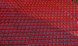 Seating on the stadium before the start of the game