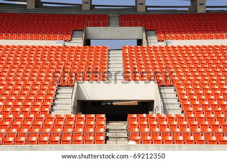 Seats at stadium  entrance walk way