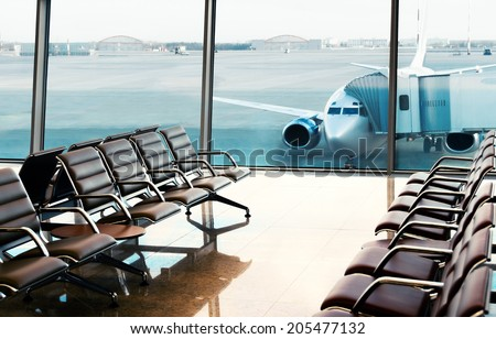 Seats, view from airport hall. Boarding. #205477132