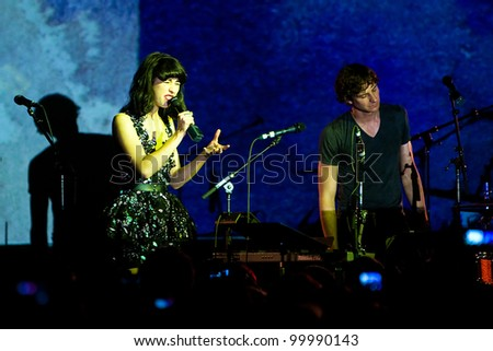 SEATTLE - April 10:  Indie rock star Gotye performs on stage with soul singer Kimbra in front of a sold out crowd at Showbox Sodo in Seattle on April 10, 2012