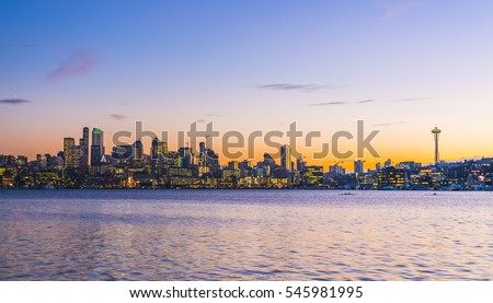 Seattle city scape at night with reflection on Union lake,Seattle,Washington,usa. #545981995