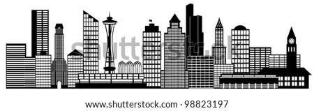 Seattle City Washington Skyline Panorama Black and White Silhouette Clip Art Illustration