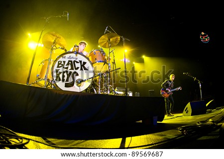 SEATTLE - DECEMBER 8: Singer and Guitarist Dan Auerbach and Drummer Patrick Carney of Rock Band the Black Keys perform on stage during the Deck the Hall Ball in Seattle, WA on December 8, 2010..