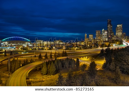 Seattle Downtown Skyline and Freeway Light Trails at Blue Hour