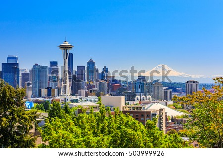Seattle downtown skyline and Mt. Rainier, Washington. #503999926