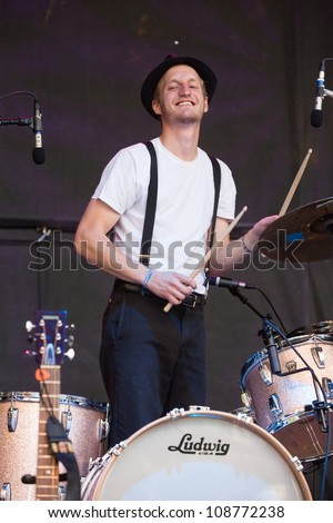 SEATTLE - JULY 22:  Drummer Jeremiah Fraites of the Denver folk band the Lumineers performs on the main stage at the Capitol Hill Block Party in Seattle on July 22, 2012.