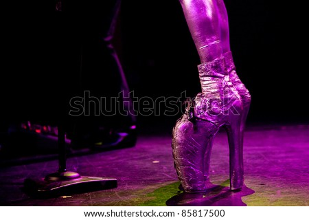 SEATTLE - JULY 1: Singer Fee Waybill dressed in drag as his infamous character Quay Lewd of the rock band the Tubes performs on stage at the Triple Door Theater in Seattle on July 1, 2011.