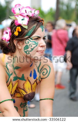 stock photo : SEATTLE - JUNE 20: A nude biker during the 38th Annual Fremont