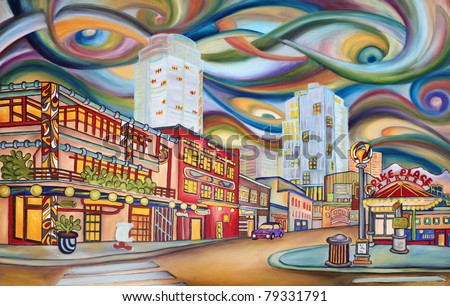 "Seattle, Pike Market area - modern abstract,  original oil painting. ""Pike Market Avenue"". One of the large oil painting from the series of ""Under Seattle's sky"" - exhibited in Seattle, in May 2011."