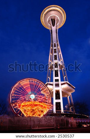Seattle's Space Needle at dusk