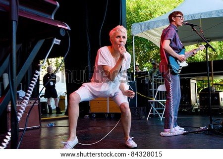 SEATTLE - SEPT 6:  Claire L. Evans of the Indie Pop band Yacht performs on stage during the Bumbershoot Music Festival in Seattle, Washington on Monday September 6, 2011.