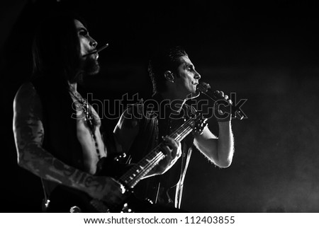 SEATTLE - SEPTEMBER 1, 2012:  Dave Navarro & Perry Farrell of rock band Jane's Addiction performs on the main stage at Key Arena during the Bumbershoot music festival in Seattle, WA on September 1, 2012