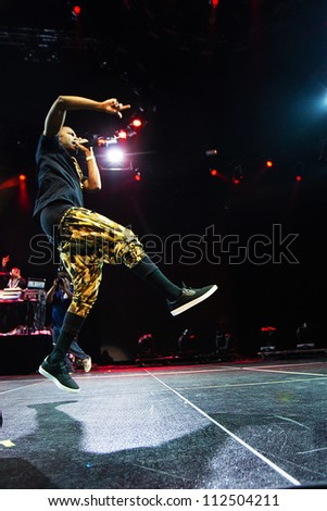 SEATTLE - SEPTEMBER 2, 2012:  Rapper Big Sean performs on the main stage at Key Arena during the Bumbershoot music festival in Seattle on September 2, 2012.