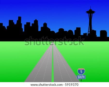 Seattle skyline and deserted interstate 5 illustration JPG