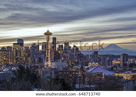 Seattle skyline and Mt. Rainier (Washington State) as seen from Kerry Park at sunrise. #648713740