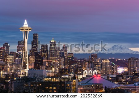 Seattle skyline at night #202532869